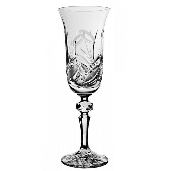 Viola * Bleikristall Champagnerflöte mit Ring (LGyű11920)